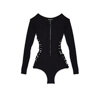 Makena Zipper Front Side Cut Out Rashguard Bodysuit - Black