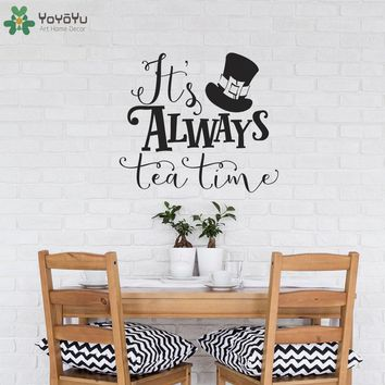 Alice In Wonderland Wall Decal Quotes It's Always Tea Time Vinyl Wall Sticker For Kids Rooms Mad Hatter Top Hat Pattern DIYSY348