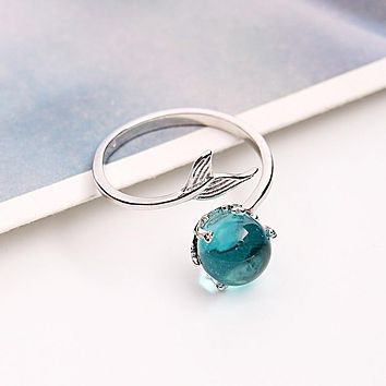 925 Sterling Silver Open Blue Crystal Mermaid Bubble Rings for Women Adjustable Size Finger Ring