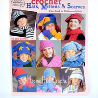 Crochet Hats Mittens Scarves Pattern, 9 Sets Sized for Children and Adults, American School of Needlework Pattern Book 1284, Crochet Destash