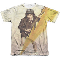 ACDC/HIGHER VOLTAGE-ADULT POLY/COTTON S/S TEE-WHITE
