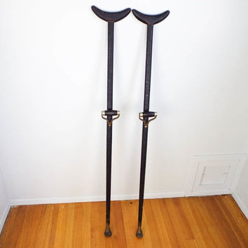 Antique 1800s American Civil War Military Officers Brass Crutches