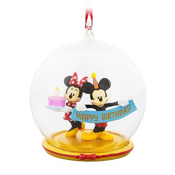 Disney Mickey and Minnie Mouse Birthday Ornament Globe Christmas Ornament New