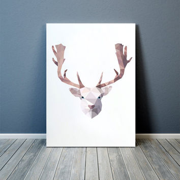 Modern decor White Deer art Colorful print Animal poster TOA74