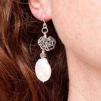Large baroque pearl earrings Big coin pearl Statement earrings 925 silver lotus charm earrings Huge white pearl dangle earring Chinese style