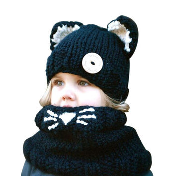 Wool Knitted Cat Hats Baby Girls Shawls Hooded Cowl Beanie Caps With Neck Wrap Kids' Gift JFY66