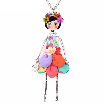Handmade French Flower Doll Necklace