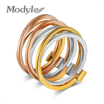 Modyle 2018 New 316L Titanium Stainless Steel Rings for Women Men Wedding Jewelry Special Design Colorful Ring