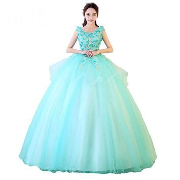 Candy Color Evening Dress Appliques Two Tiered Lace Ball Gown Sleeveless