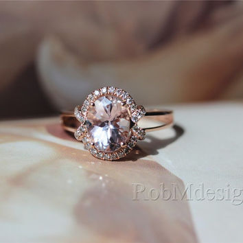 Morganite Ring 1.65ct Fancy Pink Morganite and Round Cut Natural Diamonds 14k Rose Gold Ring Wedding   Ring Gemstone Engagement Ring