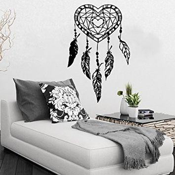 Wall Decal Dreamcatcher Dream Catcher Feathers Heart Night Symbol Indian Vinyl Sticker Decals Home Decor Bedroom Art Design Interior NS798
