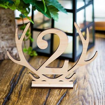 Rustic Wedding Table Numbers Antler Shape
