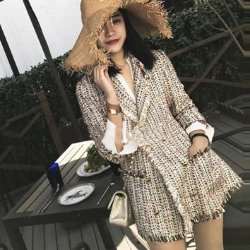 Tweed jacket double-breasted 2018 autumn / winter women's jacket Slim in the long suit small incense jacket