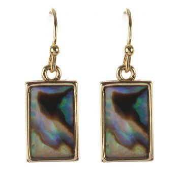 Oyster Shell Finish Rectangular Earrings 1396
