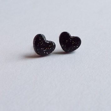 Small Black Glitter Heart Stud Clay Earrings