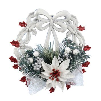 White Christmas Home Door Window Ornaments Christmas Decoration Xmas Tree Hanging Decor, A wreath with a bow-knot