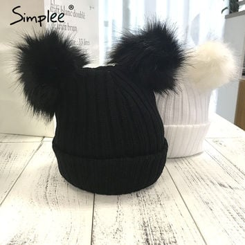 Winter Fur Double Pompom Knit Beanie