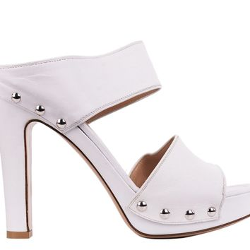 Gianvito Rossi White Leather Silver Studded Mule Heels