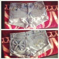 Studded Vintage Shorts with Bow