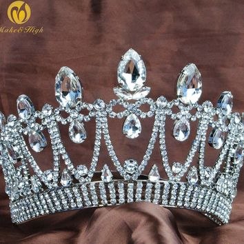 Pricness Water Drop style Tiara Crown Clear Crystal Hair Jewelry Wedding Brides Headband Miss Beauty Pageant Party Costumes
