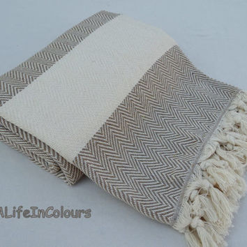 Turkish soft cotton milky brown colour herringbone patterned bath towel, beach towel, travel towel, travel blanket, baby's blanket.