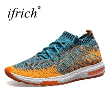 Running Shoes Men Trainers Breathable Men Gym Shoes 2019 Summer Boys Athletic Shoes Gray/Orange Mens Designer Sneakers