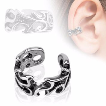 Leaves Design Rhodium Plated Brass Non Piercing WildKlass Ear Cuff (Sold by Piece)