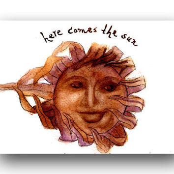 Whimsical Sun Fine Art Note Card from my original watercolor painting all occasion or  thank you card - greeting card  blank inside