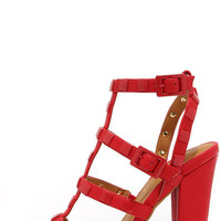 Stud Lovin' Red Studded High Heel Sandals