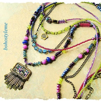 Bohemian Jewelry, Layered Colorful Peacock Necklace, Boho Chic Fashion, Modern Hippie, bohostyleme, Kaye Kraus
