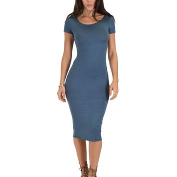 Lyss Loo Along The Lines Bodycon Teal Midi Dress