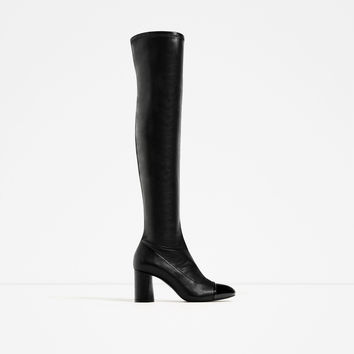 OVER-THE-KNEE HIGH HEEL CAP TOE BOOTS DETAILS