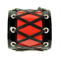 """3"""" Wide Black & Red Corset Wristband by Dysfunctional Doll Metal"""