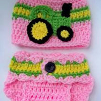 Baby Girl John Deere Hat & Diaper Cover Set Photo Prop Christmas Gift Crochet Set in Sizes Preemie - 6 Months
