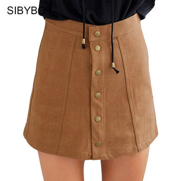 Skirts Womens Autumn Winter Faux Leather Single Breasted Button Suede Skirt Faldas Retro High Waist A Line Mini Skirt