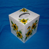 Elegant Tissue Box Cover Wood Tissue Box Holder Custom Hand Painted Sunflowers Decorative Gift