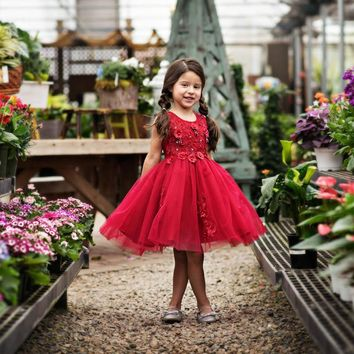 Camellia Wine Flower & Pearls Dress - Toddler & Girls