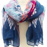 Abstract Chevron Print Scarf by Charlotte Russe - Multi