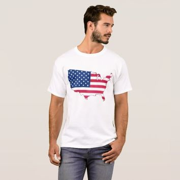 US map with flag watercolor design T-Shirt