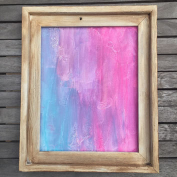 Barnwood Frame, Framed Art, Abstract Painting, Original Art, Teal Painting, Pink Wall Art, Purple Painting, Modern Art, 11x14 Canvas Panel