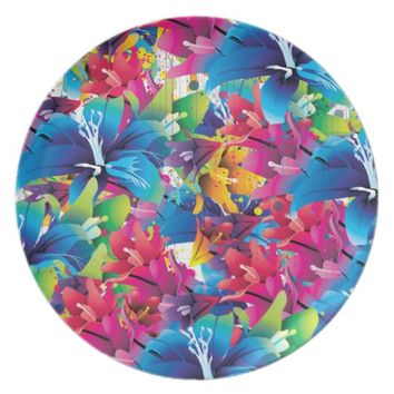 Colorful floral pattern, flowers, blue pink yellow dinner plate