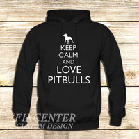 Keep Calm and Love Pitbulls on Hoodie Jacket