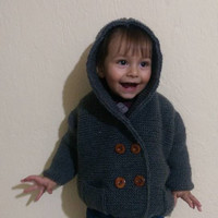 Gray Crochet Outfit Baby Jacket, Gray Useful Baby Jacket With Hood, Knitt Baby Jacket With Button, Naturel Baby Jacket, Grey Baby Cardigan