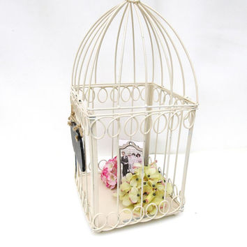 Vintage Metal Bird Cage / Wedding Card Holder / Chalk Board Sign / Shabby Chippy Beige Birdcage / Wire Basket