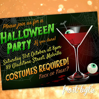 Halloween Party Invitation - cocktail party - custom invite design - digital file to print yourself as many times as you wish - 60s style