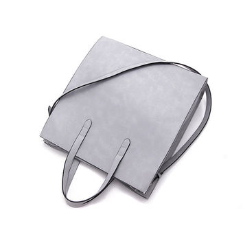 Gray Faux Leather Tote Bag