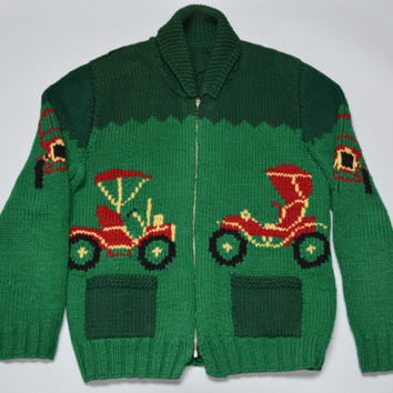 50s Mary Maxim Retro Car Sweater - Vintage Green Wool Cowichan Siwash Cardigan