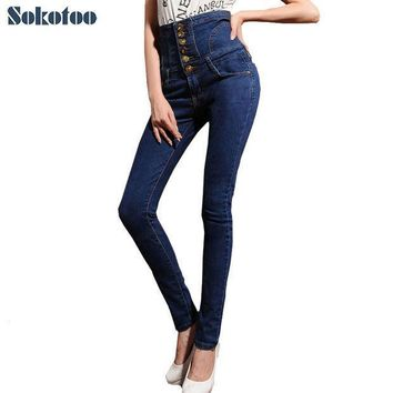 Sokotoo Women's High Waist Jeans Skinny Elastic Denim Pencil Pants Plus Large Size Lace Up Buttons Long Trousers