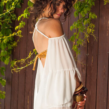 Open Back loose tunic with braids, hand braided top with wide sleeves, semi sheer white top