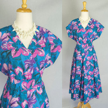 Vintage 80's Circle Sun Dress Electric Blue Hawaiian Pin-up M Gorgeous Skirt!